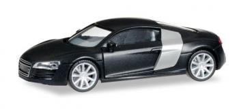MODELISME FERROVIAIRE :  Herpa 038454 - Audi R8 , noir mat avec jantes chromés