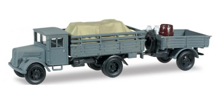 Train électrique : HERPA HER745116 - Camion Opel Blitz et remorque pick-up avec chargement
