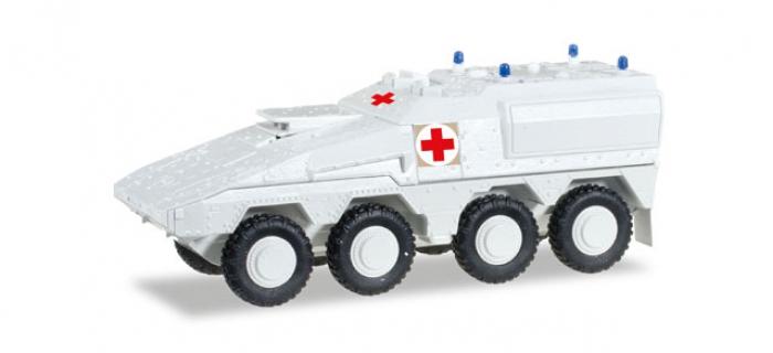 Train électrique : HERPA HER745338 - Véhicule militaire GTK Boxer blanc