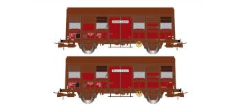 """Modélisme ferroviaire  : JOUEF HJ6167 - Coffret de 2 wagons couverts à deux essieux, Gss 4-02 """"Provence Express""""  Volets d'aération ouverts, époque IV"""