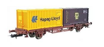 Modélisme ferroviaire  : JOUEF HJ6143 - Wagon plat à essieux avec chargement de 2 conteneurs, SNCF