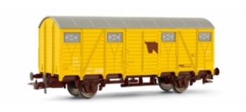 Wagon couvert, transport de bétail, jaune