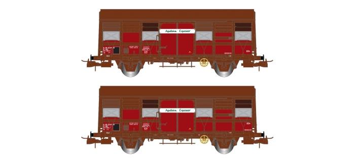 """Modélisme ferroviaire : JOUEF HJ6166 - Coffret de 2 wagons couverts à deux essieux, Gss 4-02 """"Aquitaine Express"""""""