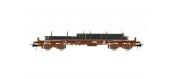 Modélisme ferroviaire  : JOUEF HJ6176 - Wagon à bords plats REMMS avec plaques d'acier SNCF