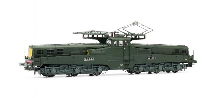 Train électrique : JOUEF HJ2275 - Locomotive e?lectrique CC 14100, livre?e verte, faces frontales jaunes, fanaux obture?s