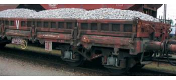 HJ6075 Wagon plat chargé de ballast * train electrique