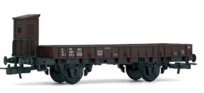 HJ6083 Wagon à bords plats avec guérite de freins, sans chargement  train electrique