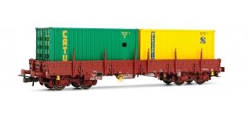 Train électrique : JOUEF HJ6118 - Wagon plat Remms chargé de 2 conteneurs