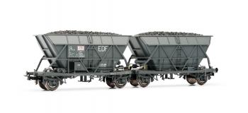 """Modélisme ferroviaire : JOUEF HJ6126 - Couplage de wagons trémie EF60 """"EDF"""", époque IV"""