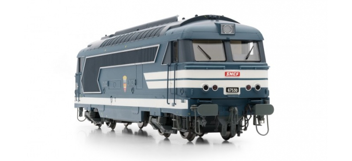 Modélisme ferroviaire : JOUEF HJ2330 - Locomotive Diesel BB 67530, livrée bleue à plaques, SNCF, Dépôt de Strasbourg