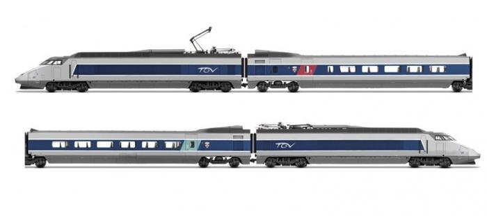 Modélisme ferroviaire : JOUEF HJ2356S - Coffret TGV Sud Est, bleu et gris métal, logo Carmillon, DCC