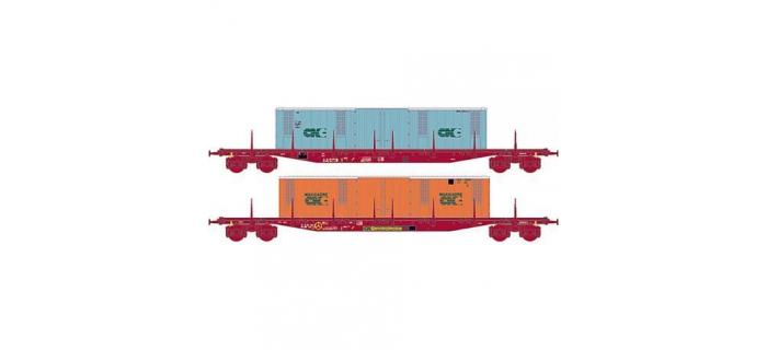 Modélisme ferroviaire : LSMODEL LSM30099 - Coffret de 2 wagons plats brun UIC à ranchers type Sgss