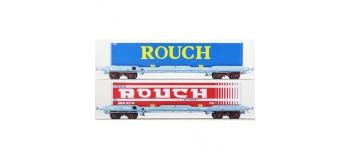 Modélisme ferroviaire : LSModel - LSM 30313 - Coffret de 2 wagons plats avec caisse mobile frigorifique ROUCH livrée bleu et rouge - SNCF