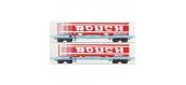Modélisme ferroviaire : LSModel - LSM 30315  -Coffret de 2 wagons plats avec caisse mobile frigorifique ROUCH livrée rouge - SNCF