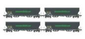 Modelisme ferroviaire : LSMODEL LSM30583 - Coffret de 4 wagons céréalier Tagnpps gris foncé