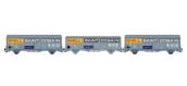 Modélisme ferroviaire :  LSMODEL LSM30650 - Coffret de 3 wagons couvert EVS gris toit haut / toit bas ''SHELL/ST-GOBAIN/CARIFLEX'' SNCF