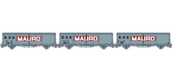 Train électrique Modelisme ferroviaire LSMODEL LSM30665 - Coffret de 3 wagons couvert EVS livrée gris avec parois planes et logo