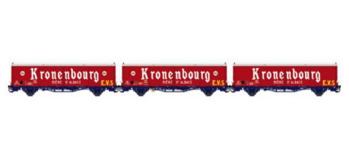 Modelisme ferroviaire LSMODEL LSM30668 - Coffret de 3 wagons couvert iK EVS logo