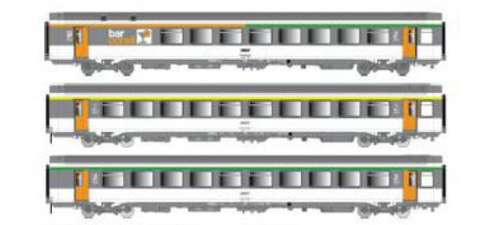 Modelisme ferroviaire : LSMODEL LSM40135 - Coffret de 3 voitures voyageurs B5rtu+A10 rtu+Bll SNCF