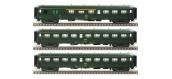 Modélisme ferroviaire : LS Model - LSM40199 - Coffret de 3 Voitures Rapide Nord A3B3Dd B9 B9