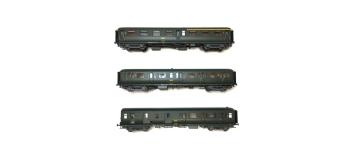 Modélisme ferroviaire : LS Model - LSM40329 - Coffret de 3 voitures Express Nord A7 + B9 + B5d livrées vertes, châssis gris, toit vert, inscriptions jaunes