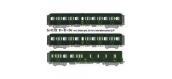 Modélisme ferroviaire : LS Model - LSM40330 -Coffret de 3 voitures Express Nord B4D + B11 + B11 livrées vertes, châssis gris, toit vert, inscriptions jaunes
