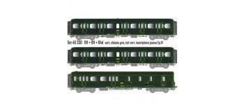 Modélisme ferroviaire : LS Model - LSM40330 - Coffret de 3 voitures Express Nord B11 - B11 - B4d livrées vertes châssis gris, toit vert, inscriptions jaunes