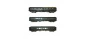 Modélisme ferroviaire : LS Model - LSM40331 - Coffret de 3 voitures Express Nord A384 + B9 + B11 livrées vertes, châssis gris, toit vert, inscriptions jaunes