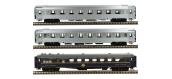 Modélisme ferroviaire :  LS Model - LSM41103 - Coffret de 3 voitures Mistral 56 livrée inox sans bandeau TEE et voiture bleu CIWL