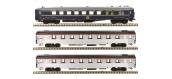 Modélisme ferroviaire : LS Model - LSM41107 - Coffret de 3 voitures Mistral 56 livée inox avec bandeau TEE et voiture bleu CIWL