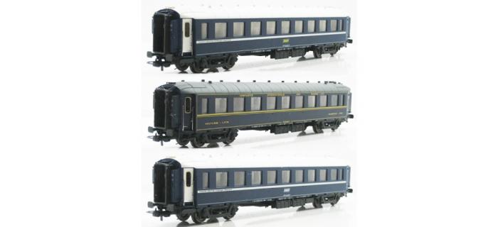 Modélisme ferroviaire : LS MODELS LSM49124 - Coffret de 3 voitures CIWL type F UIC, sans monogramme.