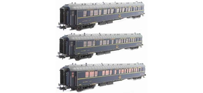 Modélisme ferroviaire : LS Model - LSM49135 -Coffret de 3 voitures type S CIWL toit normal livrée bleu 1956