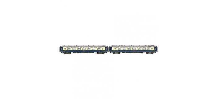 Modelisme ferroviaire : LSMODEL LSM49170 - Coffret de 2 voitures CIWL Côte d'azur livrée d'origine bleu/crème avec monogramme