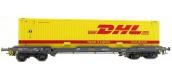 Train électrique : LSMODEL LSM30149 - Wagon porte-conteneur Novatrans DHL Ep. IV-V