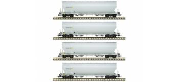 Modelisme ferroviaire : LSMODEL LSM30580 - Coffret de 4 wagons céréaliers Tagnpps gris clair MILLET Ep.VI