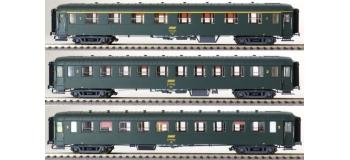 Modélisme ferroviaire : LS Model - LSM40381 - Coffret de 3 voitures OCEM vertes toit vert UIC EpIVa