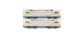 Modélisme ferroviaire : LS MODELS 10052 - Coffret de 2 locomotives électrique BB 22404 / BB 22405 livrée grise et bande orange avec logo nouille