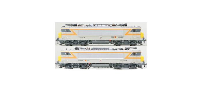 Modélisme ferroviaire : LS MODELS 10052S - Coffret de 2 locomotives électrique BB 22404 / BB 22405 livrée grise et bande orange avec logo nouille Sonore