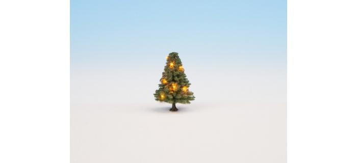 Modélisme ferroviaire :  NOCH NO 22111 - Sapin de Noël illuminé, vert, avec 10 LEDs, 5 cm de haut