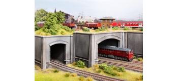 train électrique : NOCH NO 58082 - Entrée de tunnel, 2 voix, 23,7 x 12,5 cm