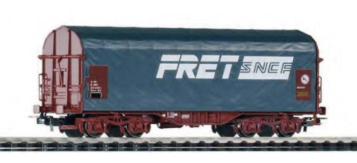 Modélisme ferroviaire : PIKO PI 95337 - Wagon bâche gris à bogies livrée FRET