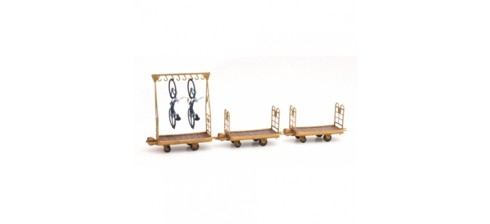Train électrique :  ARTITEC ARTDE011 - Set 1 chariot avec 2 vélos + 2 chariots à bagages