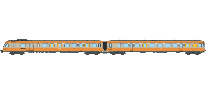 NW-166 - Autorail diesel RGP 1 ALPAZUR XBD 2729 + Remorque XRABx-7729 LYON-VAISE - REE Modeles