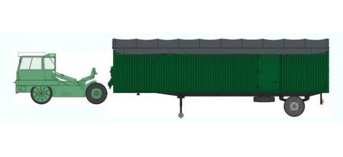Train électrique : REE CB-023 - Tracteur KANGOUROU Vert toit blanc + Remorque Verte bâche simple essieu Ep.III-IV