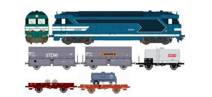 Train électrique : REE CM-003 - BB 67002 AVIGNON - ANALOGIQUE - + 5 wagons marchandises