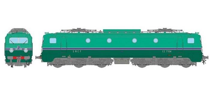 REE MB-060 - Locomotive électrique CC-7104 Jupe échancrée Sud-Ouest Ep.III dépôt de PARIS SO