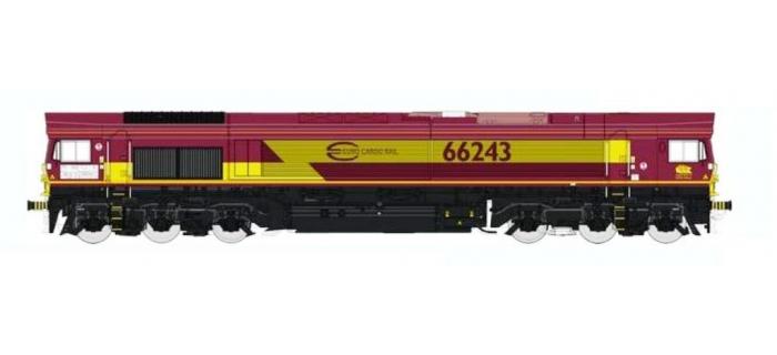 REE MBE-001 - Class 66 Euro Gargo Rail N° 66243 ECR, DCC Sonorisée
