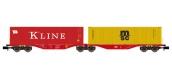 Modélisme ferroviaire : REE NW-096 - Wagon Port-Container double Ep.V-VI