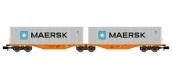 Modélisme ferroviaire : REE NW-097 - Wagon Port-Container double Ep.V-VI