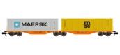 Modélisme ferroviaire : REE NW-098 - Wagon Port-Container double Ep.V-VI